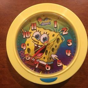 Lot Spongebob Alarm Clock and Wall Clock LIKE NEW